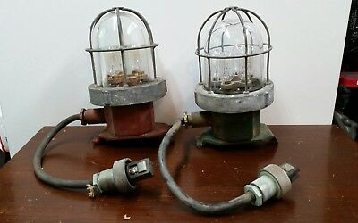 2 Vintage Ship naval explosion proof lights steampunk