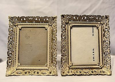 Pair of Vintage Ornate Metal Gold and White Color Table Top Picture Frames