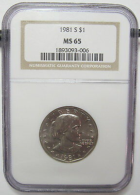 1981-S Susan B Anthony $1 NGC MS-65 Nice Problem-Free White Coin Older Holder