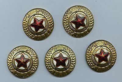 Lot of (5) Old Communist KOREA People's Army Hat Cap Badges