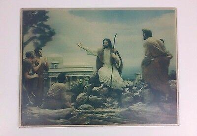 Vintage Lentograph 3D Picture Take Heed Plate 507 Religious Jesus Christ 16 x 12