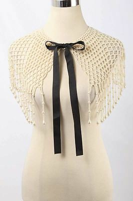 Vintage Faux Pearl Ribbon Tie Front Capelet or Collar 2548 ST217