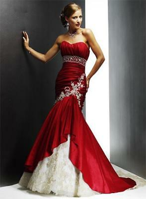 Red Green Appliques Mermaid Lace Wedding Dress 2 4 6 8 10 12 14 16 18 D5235