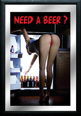 Need a Beer ? Pin Up Nostalgia Bar Mirror Mirror Bar Mirror 8 11/16x12 5/8in