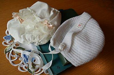 Vintage Baby Knickers White Frills Ribbon Cotton Lace Ribbon & White Knitted Hat