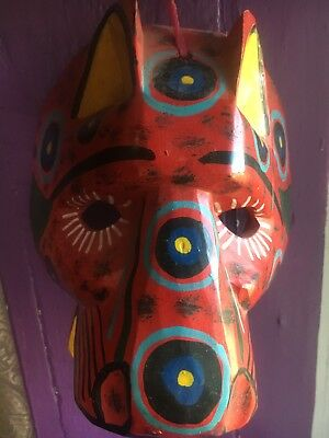 Guatemalan Wooden Masks Vintage Hand Carved Hand Painted Mayan