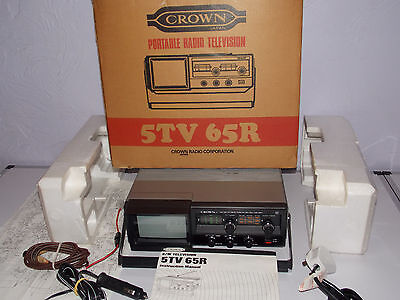 Vintage CROWN 5TV-65R Portable TV / Radio FULLY BOXED WITH EXTRAS  *FREE UK POST
