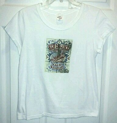 OPI Girl White Cotton New England Graphic Short Sleeve Tee T-Shirt Women's L