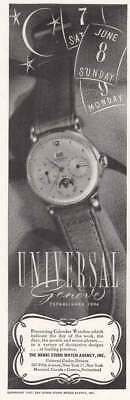 1947 Universal Geneve Watch: Calendar Watches (19381) Print Ad