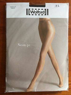 Wolford Neon 40 Tights Pantyhose High Gloss Luxury Black XL