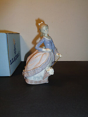 "Lladro ""Evita""  # 5212 Figurine With Box Young Lady W/ Parasol Made N Spain (7"")"