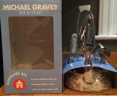 Michael Graves Design Target Barware Set 6 Stainless Steel Piece W/ Stand NEW