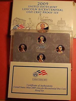 2009 US Mint Lincoln Bicentennial One Cent Proof Set - KY,IL,In,DC