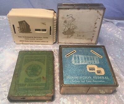 Four Vintage 1950s Savings Banks Giveaways Bloomington IL Terre Haute IN + More