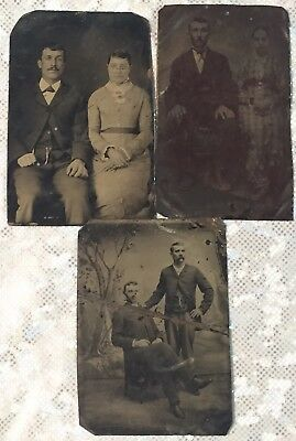 """Three (3) Vintage Tintype Photographs Couples Brothers 2.5 x 3.5"""" 1/6 plate"""