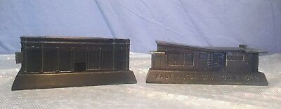 Two Vintage 1950s Figural Metal Savings Bank Giveaways East Alton IL & Milwaukee