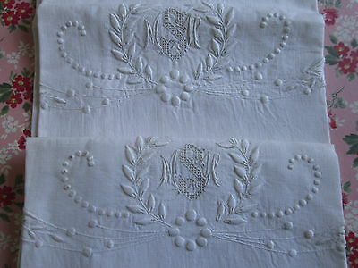 PAIR PILLOWCASES ANTIQUE Victorian Whitework Appenzell Embroidered Monogram Vtg