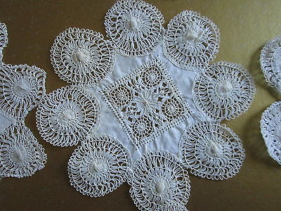12 TENERIFE HAIRPIN LACE DOILIES Finger Bowl Mat Set Sulka Fifth Ave NY Antique