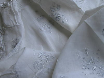 WHITE ORGANDY PILLOW SHAMS PAIR FINE Victorian Embroidered Crowns Ruffle Antique