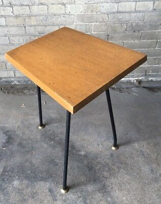 Vintage 1950s Umanoff Style Three Leg Wood Stand Telephone Stand End Table Iron