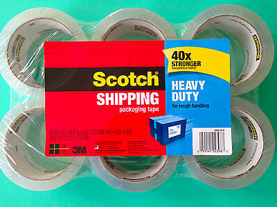 3M Scotch Heavy Duty Shipping Tape, 1.88 Inches x 43.7 Yards, 6 Rolls NEW