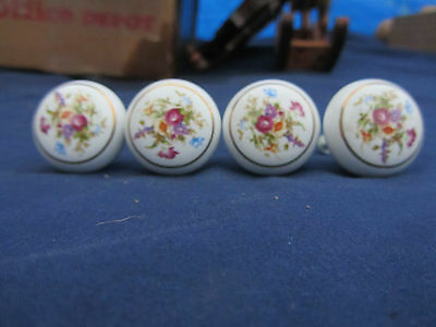 4 Vintage Porcelain Drawer Pulls Knobs With Flowers & Gold Trim & Screws Japan