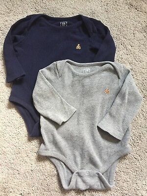 *Set of 2* Baby Boys GAP Thermal Waffle Knit One-Piece Bodysuits, 12-18 Months