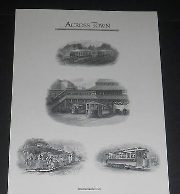 American Bank Note Co print 1990 Archive  'Across Town'  Streetcar Railroads