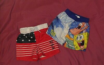 set of 2; boys 12 month swim trunks; EUC