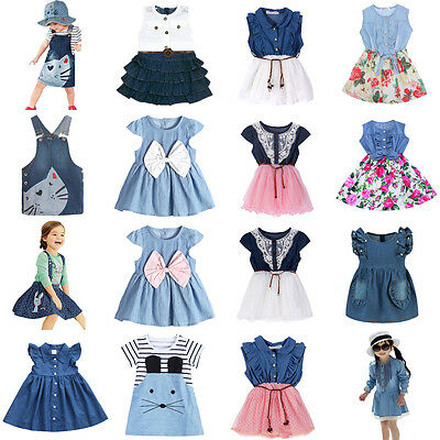 Summer Princess Baby Kids Girls Toddler Denim Jeans Dress Skirt Clothes Dresses