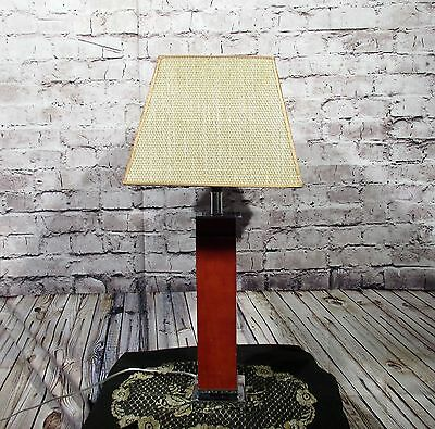 Antique Vintage Table Lamp Brown Wood Chrome Woven Shade