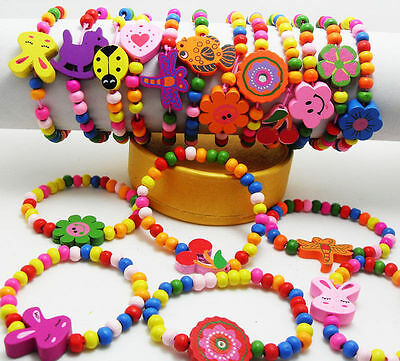 Wholesale 10pcs Kids Wood Lovely Bracelets Birthday Party Gift Favor Jewelry lot