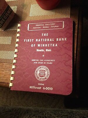 Vintage Winnetka, Ill Address Book 1962-63 First National Bank Advertising