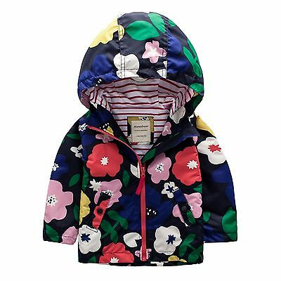 Girls Raincoat Hooded Rain Jacket Multi-colour Flowers Showerproof Age 2-8Y