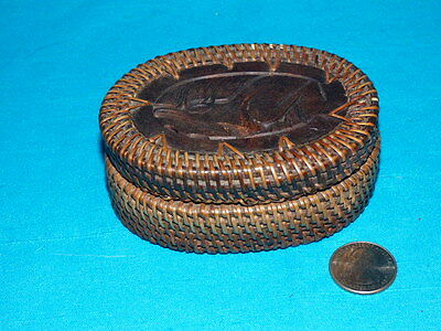 """Vintage Lombok Hand Woven Oval Basket Carved Wooden Lid Indonesia 3"""" X 4"""" X 2"""""""