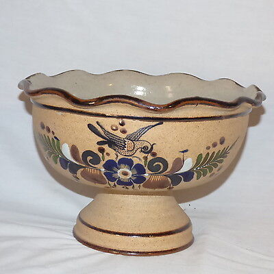 Mexican Tonala Pottery Large Serving Bowl With Stand Bird & Butterfly Blues
