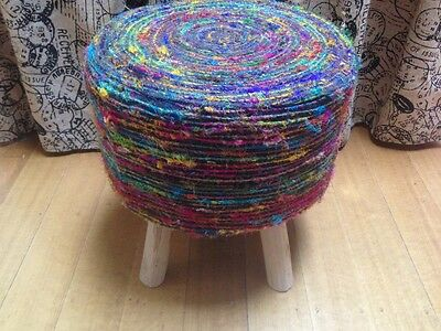 Textured Wool Embellished Ottoman Stool Timber Legs in Geelong
