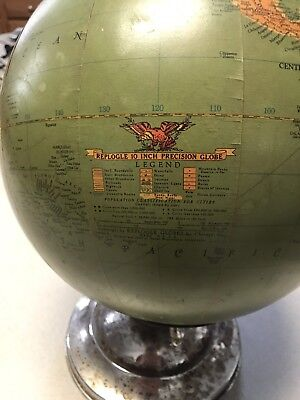 """VINTAGE  GLASS LIGHTED REPLOGLE 10"""" Precision GLOBE ~ Lamp WORKS ! Cool Maps!!"""