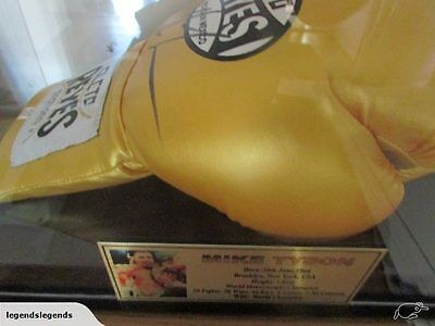Mike Tyson Signed Gold Reyes  Glove In Display Case- Coa