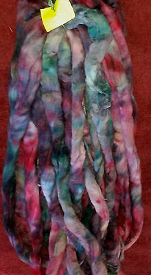 Hand dyed 19micron wool tops. 488gm for spinning or felting Wines blues greens