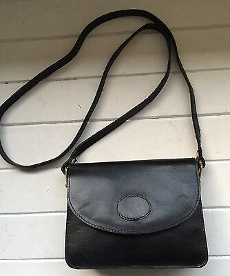 ANNAPELLE Black Leather Small Cross Body/Shoulder Bag / Handbag