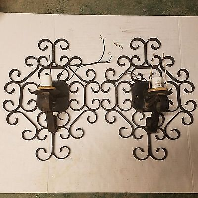 Vintage Underwriters Laboratories Electric Fixture Gothic Iron Sconce Revival