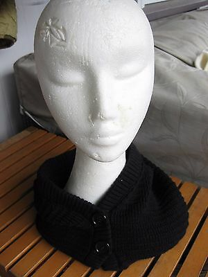 Women's Black Knitted Snood Scarf Hat