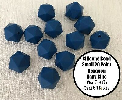 12 x 14mm Navy Blue Icosahedron 20PT Silicone Beads Bead (was teething) Hexagon