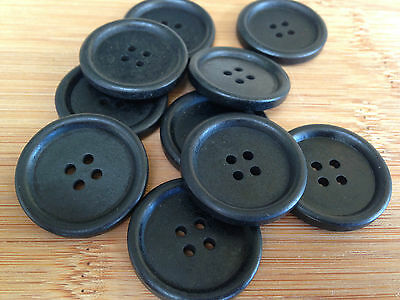 10 x 30mm Black Wood Button Buttons Sewing Wooden Clothing Scrapbooking DIY