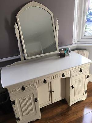 Old Charm Dressing Table, Cream Painted, 1920s, linen fold,