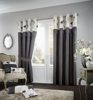 New Charcoal Grey Floral Pleated Eyelet Ring Top Fully Lined Curtains All Sizes