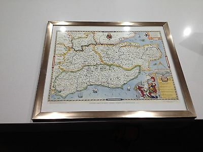 1975 Saxton's  Map of Kent, Sussex, Surrey & Middlesex printed in England framed