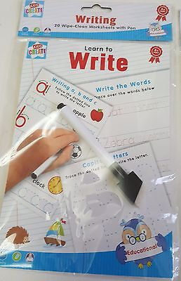 Learn To Write Handwritting Wipe Clean Activity Book Learning Educational & Pen