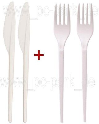 2in1] 500x Plastik Gabel + Messer | Einweg | Besteck | Picknick | Party | Feier
